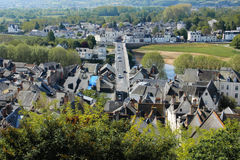City view and river Vienne. Chinon. France. View of the village and bridge over river Vienne from the fortress. Chinon. France Royalty Free Stock Image