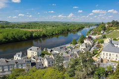 City view and river Vienne. Chinon. France. View of the village and bridge over river Vienne from the fortress. Chinon. France Stock Photos