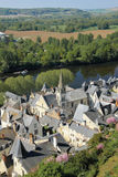 City view and river Vienne. Chinon. France. View of the village, Saint Maurice church and  river Vienne from the fortress. Chinon. France Royalty Free Stock Images