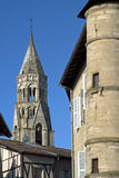 City view with Romanesque Saint-Léonard Church Royalty Free Stock Photo