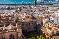 City View Seville Cathedral Garden Spain. Cityscape, City View, from Giralda Spire, Bell Tower, Orange Garden, Seville Cathedral, Andalusia Spain. Built in the royalty free stock photo
