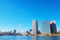 City view of Shinkawa area in Tokyo, Japan Royalty Free Stock Images