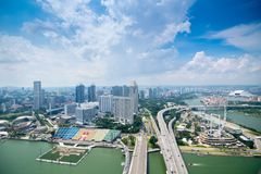 City view of Singapore. View from roof top of the Marina Bay Sands resort, the bay front in Singapore. royalty free stock photography