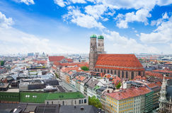 City view with sky, red roofs in Munich Stock Image