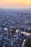 Tokyo, Japan 08.29.2017: city view from the Sky Tree tower. City view from the SkyTree tower at Sumida River Royalty Free Stock Image