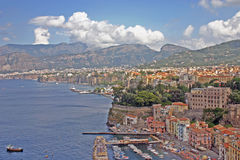 City view of Sorrento, Italy from a nearby cliff. Summer day view of the city and bay view of Sorrento, Italy Royalty Free Stock Photo