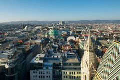 City view from St Stephan cathedral, Vienna, Austria Stock Images