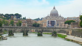 City view with stone birdge, tiber river, rome, italy, 4k stock video footage