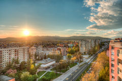 City view with a sunset Stock Images