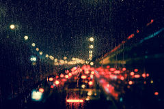 Free City View Through A Window On A Rainy Night Stock Photography - 77412532