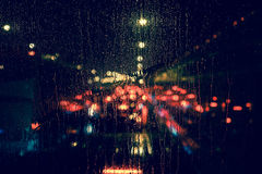 Free City View Through A Window On A Rainy Night Stock Images - 77412914
