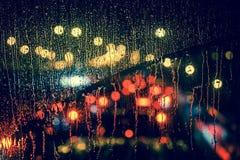 Free City View Through A Window On A Rainy Night Stock Image - 77413051