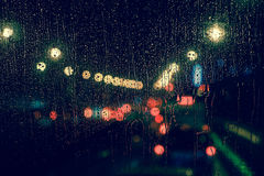 Free City View Through A Window On A Rainy Night Royalty Free Stock Photography - 77413967