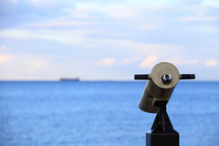 City-view tourist telescope Viewfinder view. Day light outdoor Royalty Free Stock Photo