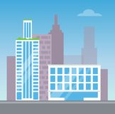 City View with Two Modern Buildings, Color Card. Vector illustration with white houses with blue windows, plants on roof, silhouettes of skyscrapers Vector Illustration