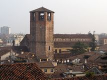 City view of Udine, in Italy, with the gothic romanesque medieval cathedral. City view of Udine, historical capital of Friul Homeland now in Italy, with the royalty free stock images