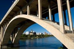 City view under the Victoria Bridge. Downtown Saskatoon as seen under the Broadway Bridge on the South Saskatchewan River stock images