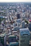 City view from up High vertical. A view from atop the CN Tower looking down on the cityscape of Toronto in vertical format stock image
