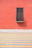 City view of Valladolid old town. City view of traditional house red wall in Valladolid old town. Valladolid, Mexico Royalty Free Stock Images