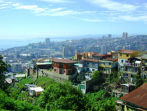 City view of Valparaiso. High up over houses and sea stock photo