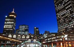 City view in Vancouver downtown. City of Vancouver at night time Stock Photography