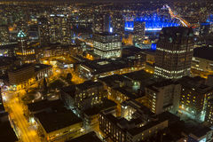 City View Vancouver. A view at night looking towards Rogers Arena, Vancouver, BC, Canada Stock Photos
