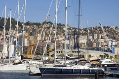 City view of Vigo with sailboats in marina Royalty Free Stock Images