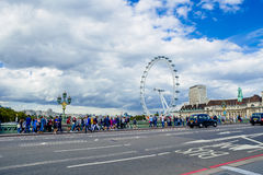 City view from the Westminster bridge including the London Eye Royalty Free Stock Image
