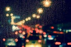 City view through a window on a rainy night Royalty Free Stock Photo