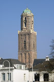 City view Zwolle, Historic church tower Peperbus Stock Images