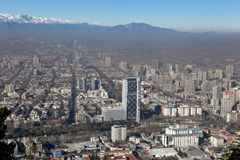 City viewed from San Cristobal hill, Santiago, Royalty Free Stock Image