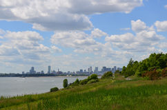 City Views of Boston from the Harbor Islands. Gorgeous city views from the Boston Harbor Islands Stock Images