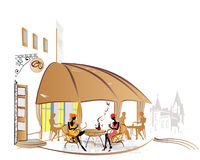 City views with cozy cafes royalty free illustration