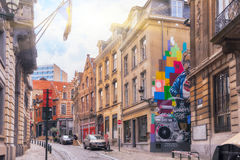 City views cozy European cities - Brussels, Belgium and the Eur Royalty Free Stock Photography