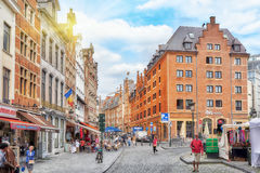 City views cozy European cities - Brussels, Belgium and the Euro Stock Photography