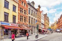 City views cozy European cities - Brussels, Belgium. Stock Photos