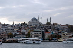 City views of Istanbul. ISTANBUL, TURKEY - NOV 26, 2011 - View of Istanbul from Bosphorus in foggy day stock photos