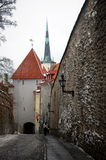City views of Tallinn. Tallinn, Estonia. Descent from Vyshgorod to the Old Town Royalty Free Stock Images