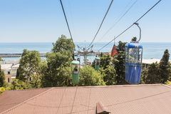 Cabins of the cable car. City views of Yalta from the height of the cable car Royalty Free Stock Photos