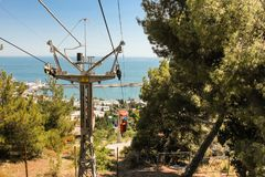 Support cable car. City views of Yalta from the height of the cable car Stock Images