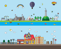 City and Village flat design Stock Images