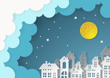 City Village with full moon and urban vector illustration