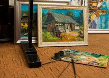City and village life paintings Stock Photography