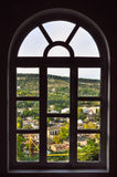 City Village are visible through the window Stock Photography