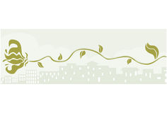City and vine banner. Landscape banner of a vine sprawling across the cityscape Stock Image