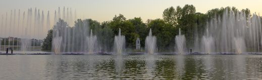 The city of Vinnytsia is a waterfront near the Roshen plant, in the evenings the fountain shows a laser show for. Residents and guests of the city Stock Photo