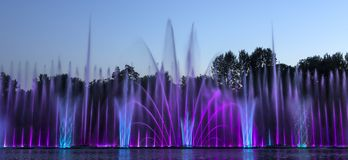 The city of Vinnytsia is a waterfront near the Roshen plant, in the evenings the fountain shows a laser show for. Residents and guests of the city Royalty Free Stock Photography