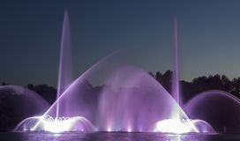 The city of Vinnytsia is a waterfront near the Roshen plant, in the evenings the fountain shows a laser show for. Residents and guests of the city Royalty Free Stock Images