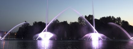 The city of Vinnytsia is a waterfront near the Roshen plant, in the evenings the fountain shows a laser show for. Residents and guests of the city Stock Photography