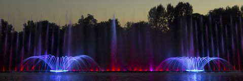 The city of Vinnytsia is a waterfront near the Roshen plant, in the evenings the fountain shows a laser show for. Residents and guests of the city Royalty Free Stock Photos